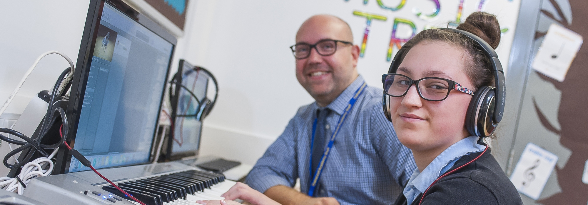 Pupil and teacher in music lesson at Oakwood Academy