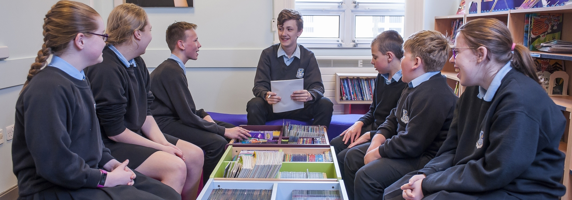 Pupils in library at Oakwood Academy